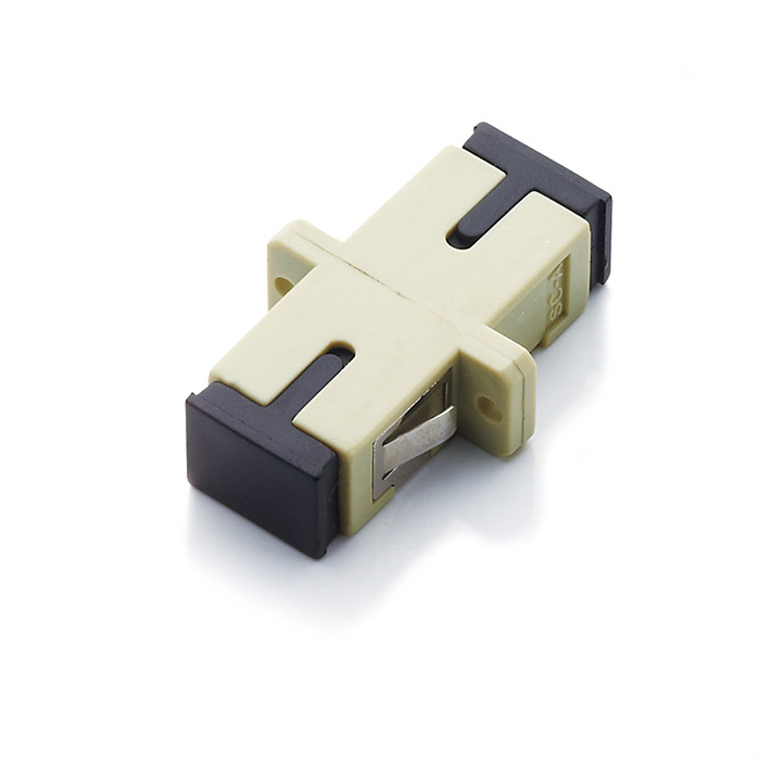 Multimode Singal Core Fiber Optic Adapter SC Beige Plastic Flange