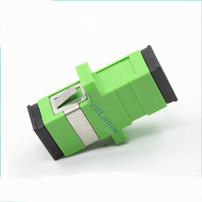 SC APC Fiber Optic Adapter Singal Core Green Plastic Flange