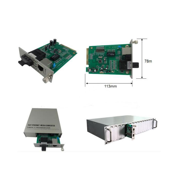 100M Card Type Singal-mode Double Fiber SC Fiber Media Converter