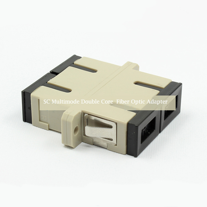 SC Multimode Double Core Fiber Optic Adapter Plactic Flange
