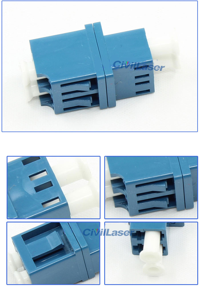 LC Singal Mode Double Core Integrated Type Blue Fiber Optic Adapter