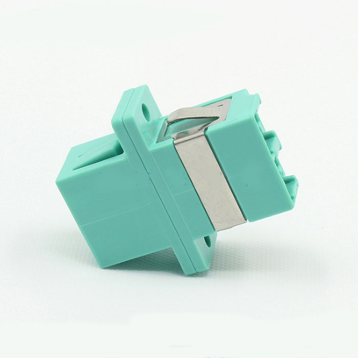 LC Multimode Double Core Cyan Plastic Fiber Optic Adapter