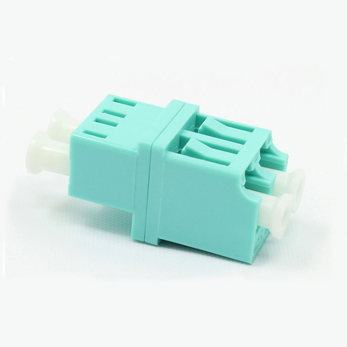 Cyan LC Mulyimode Double Core Plastic Fiber Optic Adapter