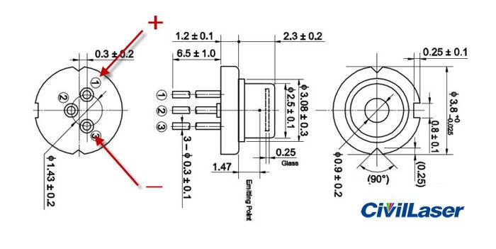laser diode sld3239vfr cw180mw 405nm blue
