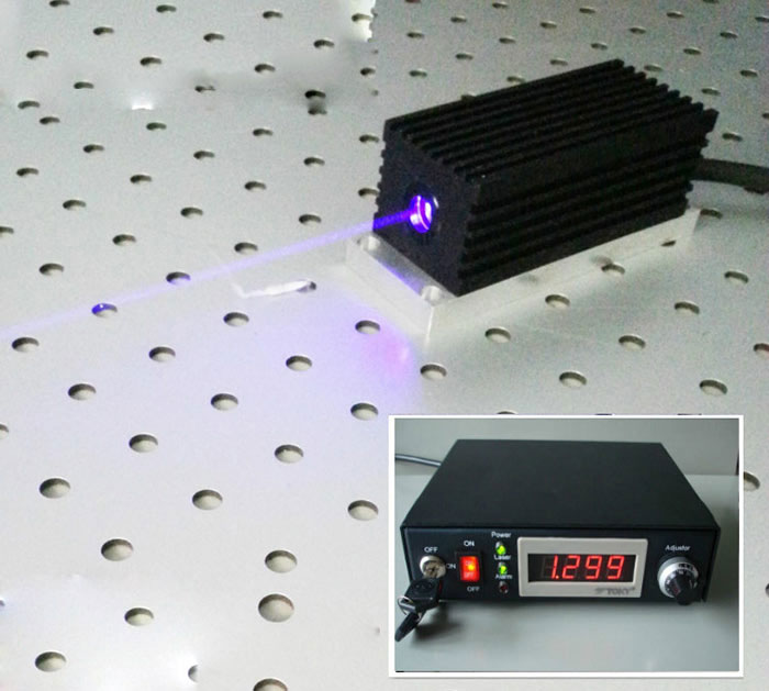 405nm 300mw/400mw/500mw Blue-violet CW laser with power supply , Analog or TTL