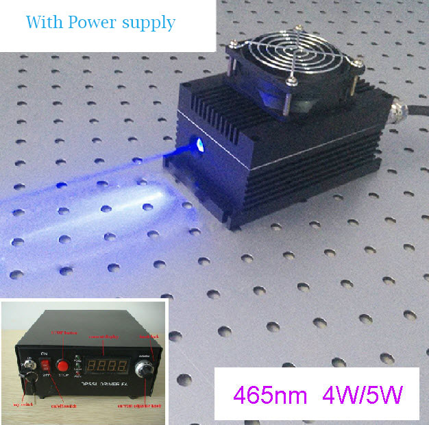 465nm 5W Blue DPSS Laser with power driver (From CivilLaser)