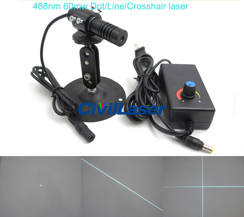 488nm 60mw Sky Blue Laser module Adjustable focus Dot/Line/Crosshair