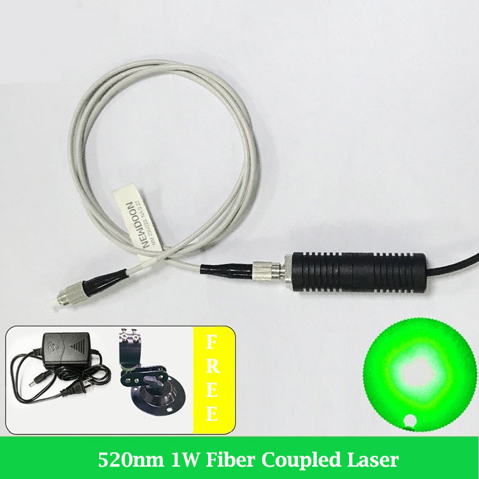 520nm Green Fiber Coupled Laser 1000mW Pigtailed Laser Module With Power Supply