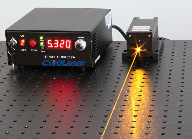589nm dpss laser output power 200mW adjustable Yellow light source for scientific research