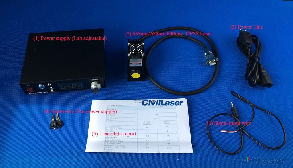 635nm 400mw 500mw 600mw Red Semiconductor Laser With Power