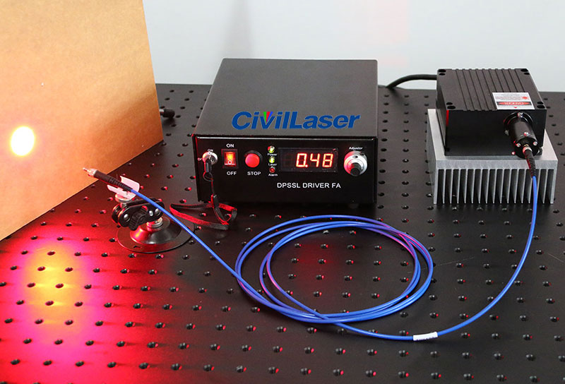 635nm 12W Fiber coupled laser system with adjustable power supply