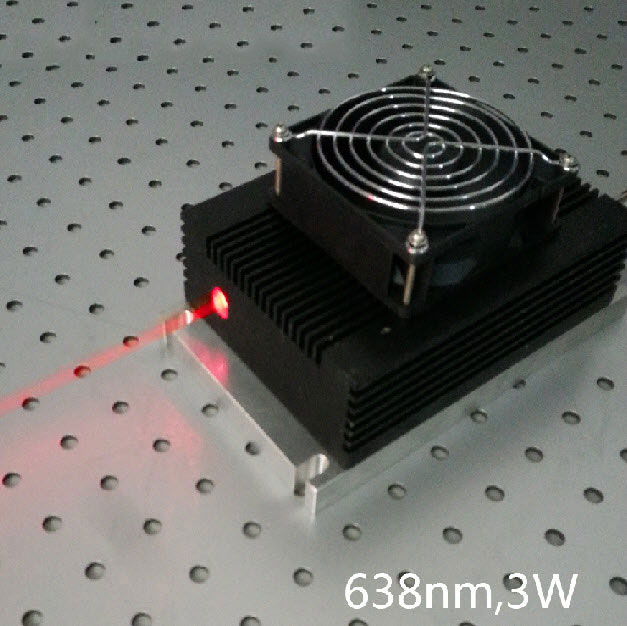 638nm 3W High power Red Semiconductor Laser Modulation 0~30khz Analog or TTL