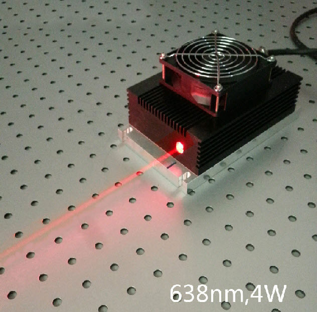 638nm 4W High power Red Semiconductor Laser Modulation 0~30khz Analog or TTL