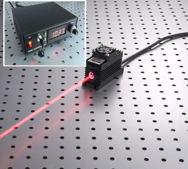 650nm/655nm/660nm 1200mw 1.2W Red Semiconductor laser with Lab Adjustable type power supply
