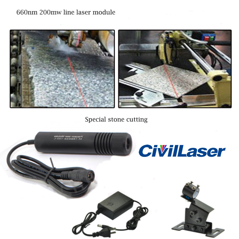 660nm 200mW Red Line laser module Special Stone/Wood cutting
