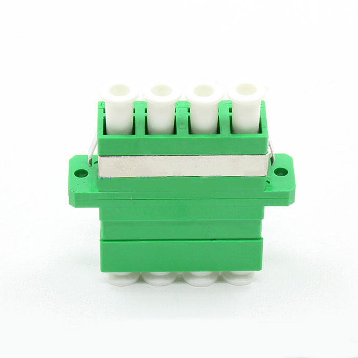 LC APC Connector Four Core Plastic Green Fiber Optic Adapter