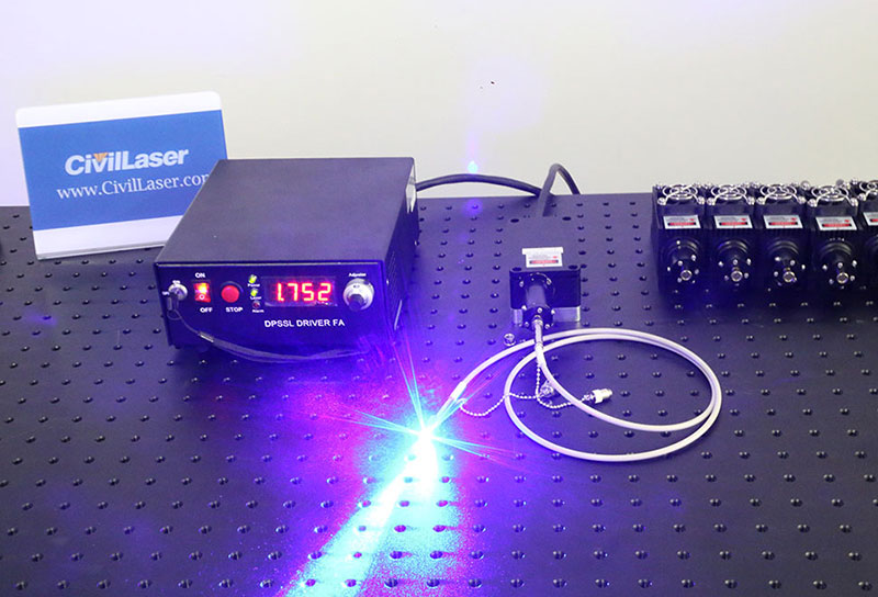 Blue laser beam 465nm 26W Fiber coupled laser systems