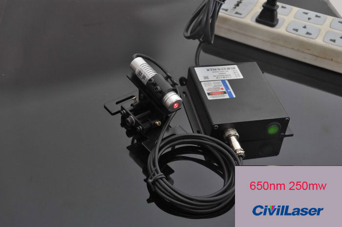Lab light source/Mitsubishi 665nm 250mW Red laser module/Dot/Include Holder and Power Transformer