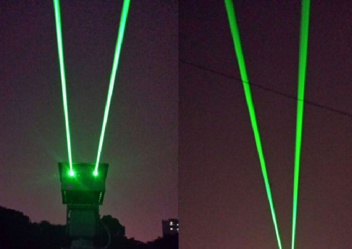 Landmarks laser with two 6W green laser beam Waterproof design