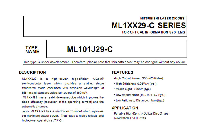 Brand New ML101J29-C 660nm 200mw laser diode high power