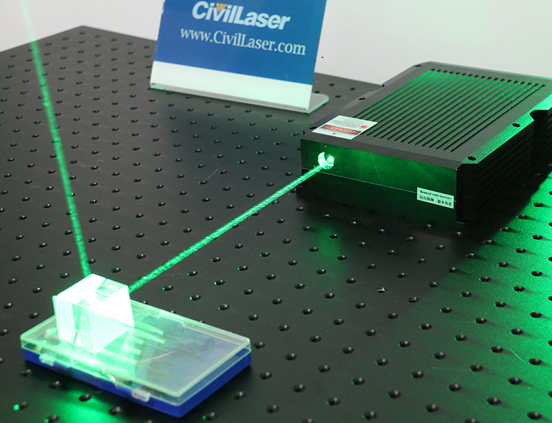 High precision 530nm±0.5nm 2.7W  Near TEM00 green laser Lab Research Laser