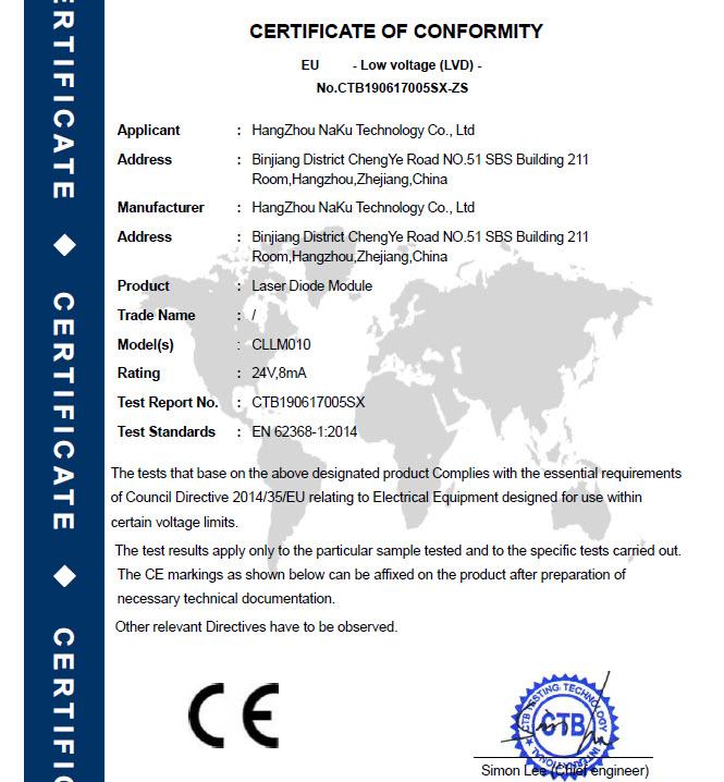 LaserModule-CE LVD Certification