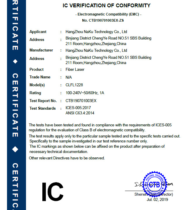 05 IC-Certification for fiber laser