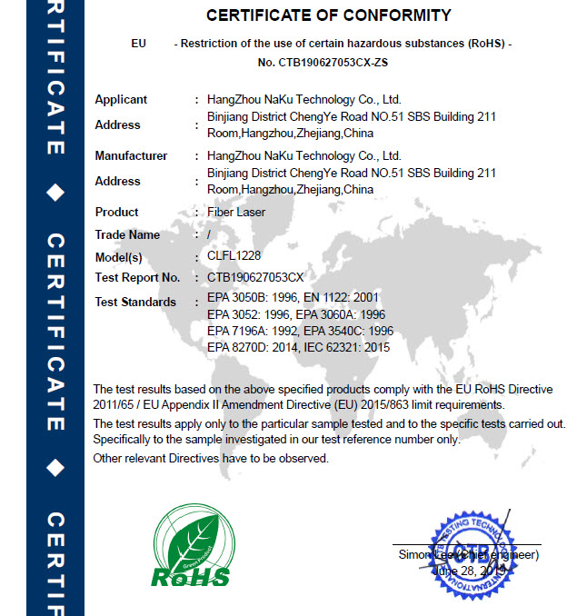 06 ROHS-Certification for fiber laser