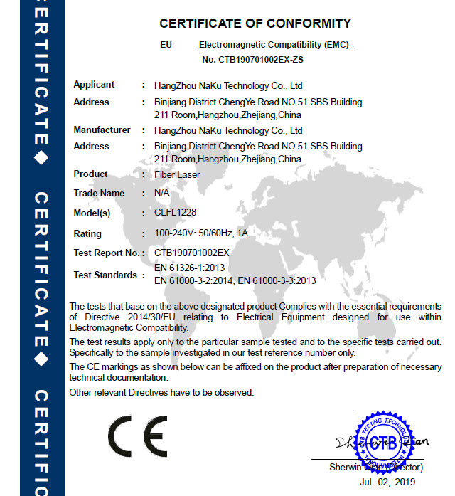07 CE-EMC-Certification for fiber laser